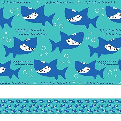 Faixa Adesiva para Quarto de Menino Tubarão Azul 6mx15cm