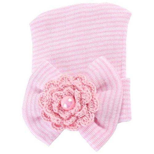 Ussore 1PC Newborn Boys Girls Baby Kids Headwear Pretty Bow Flower Pearl (Pink)