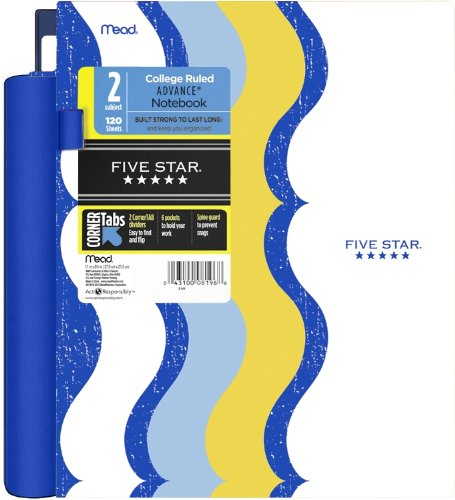 Five Star Advance Spiral Notebook, 2 Subject, 120 College-Ruled sheets, 11 x 8.5 Inch Sheet Size, Blue/White/Yellow  (72919)