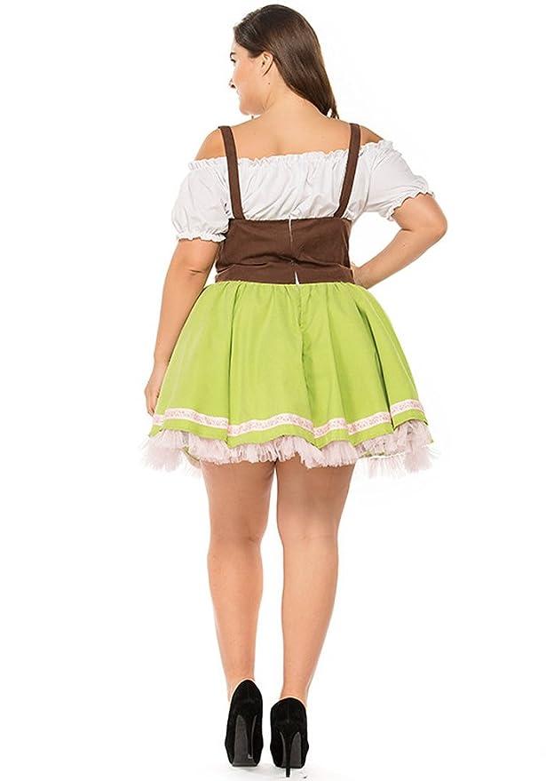 XFentech Vestido de Dirndl para Mujeres gordas, Traje Alemán de Oktoberfest, Vestidos de Lujo Bávaros, Falda de Dirndl: Amazon.es: Ropa y accesorios