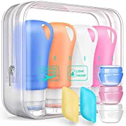Silicone Travel Bottles, 3 oz Size containers for toiletries, Leak proof Travel Shampoo And Conditioner Bottles With…