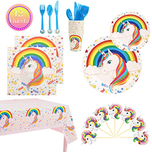 Unicorn Party Supplies Set Birthday Decorations Tableware Includes Plates, Tablecloth, Napkins, Cups for Theme Party-Serves 12