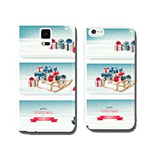 Three Christmas banners with presents and a sleigh. Vector. cell phone cover case iPhone5