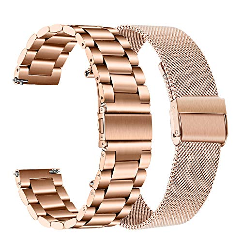 for Samsung Galaxy Watch 42mm Women Band Sets, TRUMiRR 20mm 2 Pack Solid Stainless Steel Watchband + Mesh Woven Strap Quick Release Bracelet for Garmin Vivoactive 3 TicWatch E (Garmin 205 Replacement Band)