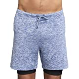 OHMME Clothing Two Dogs men's double layer 2 in 1 yoga shorts, blue