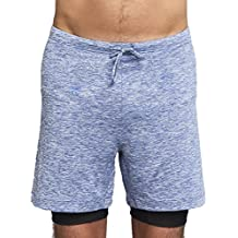 OHMME Yoga Shorts For Men – Two Dogs – For Hot Bikram Yoga and Intense Workouts – Lined With Stretch Compression Layer - Lightweight Outer Shell – Durable and Well Made