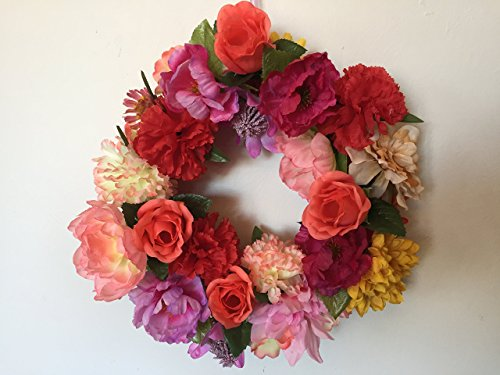"""Carnation Rose Centerpiece (Colorful 15"""" mini floral wreath, Window wreath, One of a kind, Centerpiece, Cemetery, Mausolum, Marigolds, Carnations, Peonies, Roses, Ranunculus, Dahlias, Chrysanthemums, Sunflowers, Ready to ship)"""