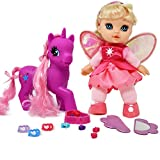 Adorable 8 inch Fairy Doll Blond Hair With Dark Pink Unicorn Pony, My Little Pony Wonder Land Set Comes with Mirror, Comb, clips, bead and more Accessories for Pony's and Doll's Hair