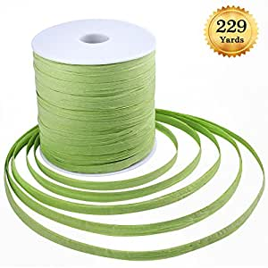Whaline 229 Yards Raffia Paper Craft Ribbon Green Packing Paper Twine, 1/4 Inch