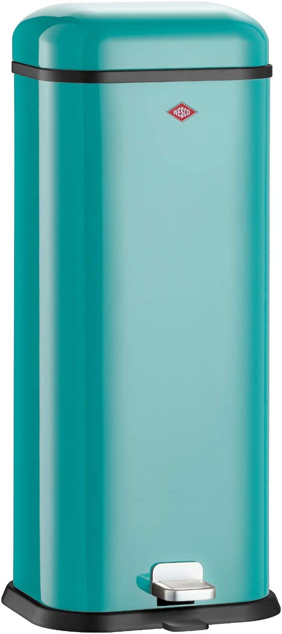 Wesco 132 312-54 Superboy Pedal Bin with Sound Dampener, Turquoise