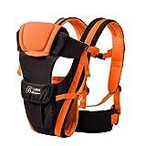 SpringBuds Ergonomic Baby Carrier Backpack Lightweight Windproof Front and Back 6-in-1 (Orange)