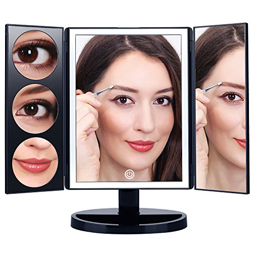 MAKARTT Cosmetic Lighted Mirror 3x/5x/10x XLarge Magnifying Trifold Vanity Mirror Best Gift for Women Black