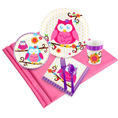 Owl Blossom Childrens Birthday Party Supplies - Tableware Party Pack (24) -