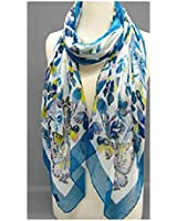 """""""Fashion Scarf""""~ White with """"Blue"""" Butterflies and Border ~ 27"""" x 70"""""""