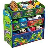 Ninja Turtles Characters with Six Fabric Storage Bins Kids' Toy Organizer, Green