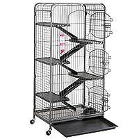go2buy Metal 6 Levels Ferret Cage Playpen for Rabbit Chinchilla Squirrels w/3 Doors/Bowl/Water Bottle 25.2 x 16.9 x 51.6 Inch Black