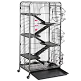 go2buy Metal 3 Doors Rats Rabbit Ferret Cage Playpen, 25.2 x 16.9 x 51.6 Inches