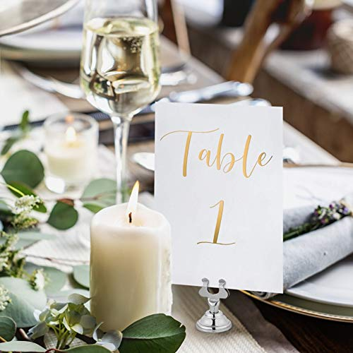 UNIQOOO Gold Foil Table Numbers for Wedding | 4x6 Double Sided Number 1-25 & Head Table Card, Calligraphy Design | Ideal Table Sign for Banquet Dinner Party | Pack of 26