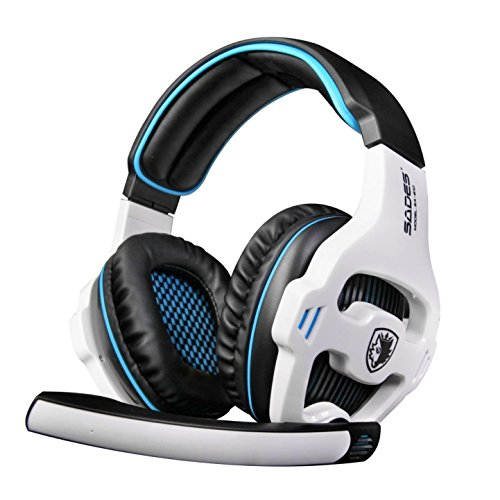 SADES SA810 3.5mm Wired Stereo PC Gaming Headset with Microphone for PC/Laptop(Black White) ()