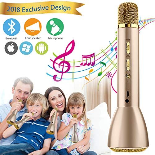 Wireless Karaoke Microphone, Portable Kids Microphone With Speaker Handle Karaoke Mic Singing Machine for Children Boys Girls Adult Party Birthday Gift, Support Andriod IOS Smartphone (Gold)