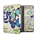 kwmobile Elegant synthetic leather case for the Kobo Glo HD / Touch 2.0 Design butterflies vintage in blue mint beige