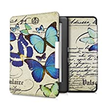 kwmobile Elegant synthetic leather case for the Kobo Glo HD (N437) / Touch 2.0 Design Vintage butterflies in blue mint beige