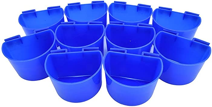 1 Pint Plastic Cage Hanging Cup Poultry Feeder Waterer Feeder Rabbit Brand New