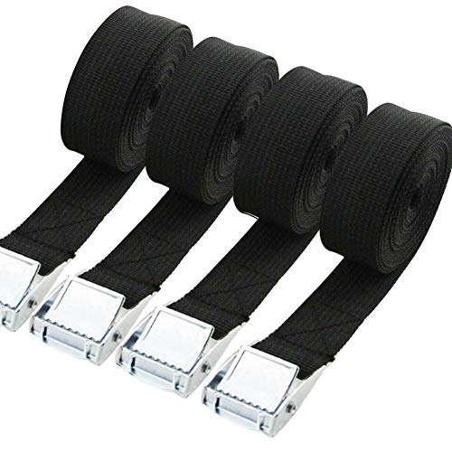 Tie Down Straps,4 Pieces Heavy Duty Ratchet Straps Cambuckle for Motorcycle Cargo Trucks,Adjustable Lashing Straps Tensioning Belts with Quick Release Cam Buckle for Car Luggage