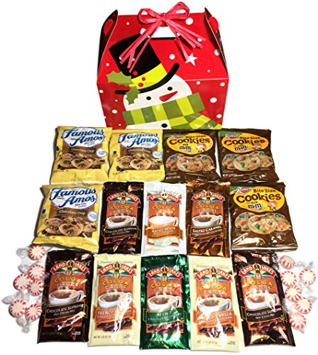 Snowman Snack - Hot Cocoa & Cookies Holiday Snowman Care Package features fun Gift Box stuffed with cocoa, cookies, and peppermint candy, the perfect holiday Christmas gift for college student, military, co-worker