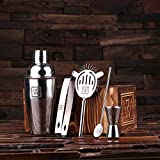 New Town Creative Mixologist Gift Set - Monogrammed Stainless Steel Cocktail Maker Set - Great Personal Barware Gift Idea for The Man Cave
