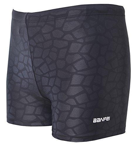 Vocni Men's Compression Quick Dry Rapid Swim Splice Square Leg Short Jammer Swimsuit (Chart Size Swim Jammers)
