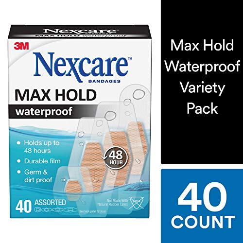 Nexcare Max Hold Waterproof Bandages, Stays On Up to 48 Hours, Virtually Invisible, 40 Count, Assorted Sizes