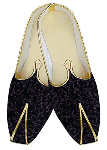 Inmonarch Mens Chaussures De Mariage En Polyester Noir Pour Partywear Mj11127 Noir