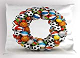 Ambesonne Letter O Pillow Sham, Colorful Athletic Composition with Many Game Balls and Alphabet Letter Typography, Decorative Standard Queen Size Printed Pillowcase, 30 X 20 inches, Multicolor