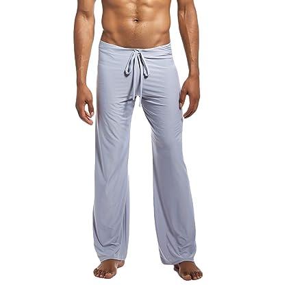 LuckyGirls Hombre Pantalones Pijama Casual Yoga Chándal Pantalón (S,Gris)