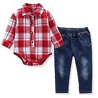 Baby Boys Bowtie Shirt Jeans Strap 4 Pieces Dressy Clothes Set 2 Colors