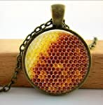 Honeycomb Pendant Necklace - Natural...