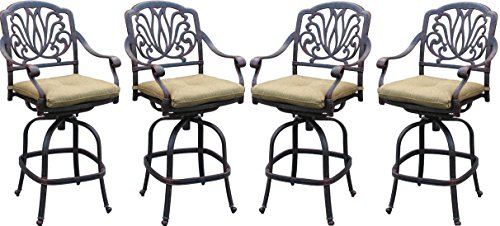 Patio Bar Stools Set of 4 Elisabeth Cast Aluminum Furniture Outdoor Swivel Bar Stool Desert Bronze