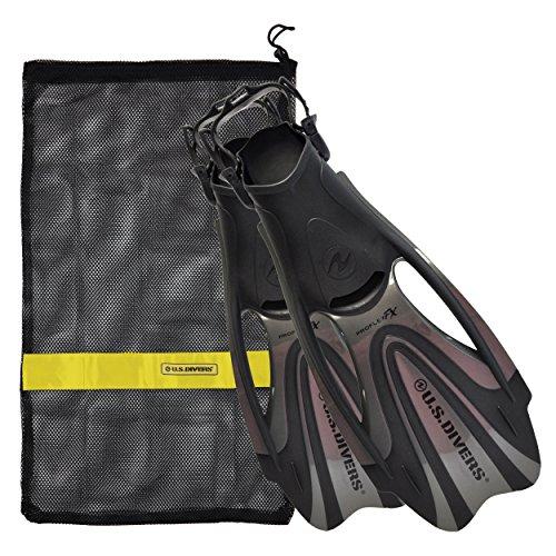 U.S. Divers Proflex FX Fin With Mesh Carrying Bag, Titanium, Medium
