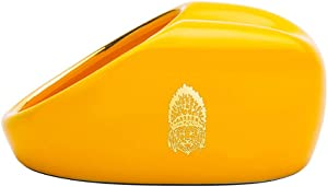 JYPHM Cigar Ashtray Smoking Accessories Non-slip Bottom Compact Portable Household Cigar Ashtray Windproof Ceramic Cigar Ashtrays for Men Luxury for Home and Outdoor Use Yellow 4.2x3.1x2inch