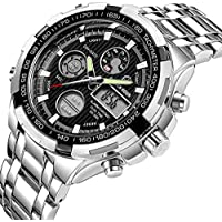 Tamlee Luxury Full Steel Analog Digital Watches for Men Led Male Outdoor Sport Military Wristwatch (Silver Black)