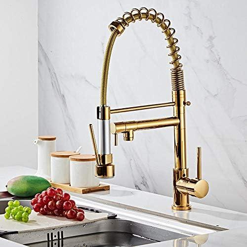 プルダウンスプレー付きキッチン蛇口,春の金銅の伸縮式の多機能の蛇口が付いている台所の流しのコック