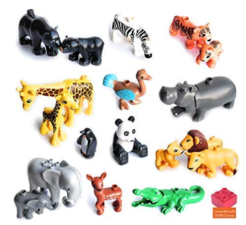 18 Zoo Animals and 5 Fences - Wild Jungle Savanna Forest Park Around The World - Duplo Compatible