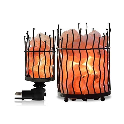Pillar Design Metal Nightlight and Basket with Salt Chunks, Amber Glow
