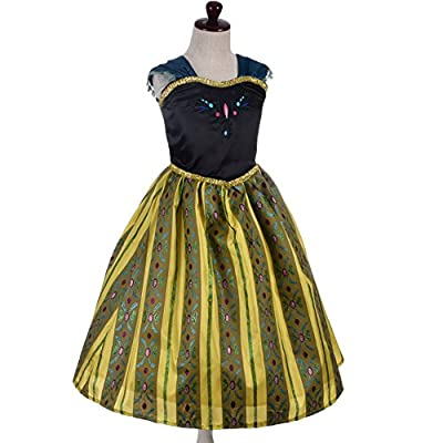 Dressy Daisy Girls' Ice Princess Sister Coronation Gown Birthday Halloween Christmas Fancy Party Costume: Clothing
