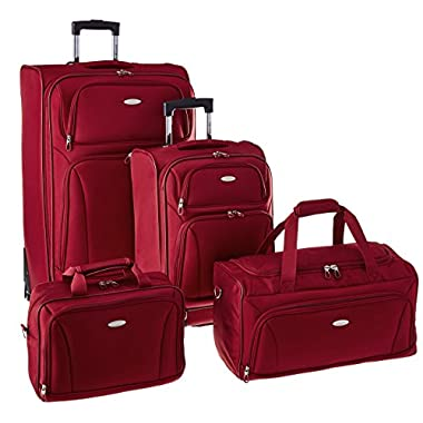 Samsonite 4 Piece Lightweight Set (20  & 28  4 wheel Spinners, Duffel & Boarding) {Red)