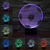 3D LED Optical Illusion Lamps Night Light, LSMY 7 Colors Touch Art Sculpture Lights with USB Cables Bedroom Desk Table Decoration Lamp for Kids Adults, Football Soccer