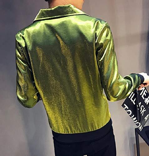 Green Comfort MogogoMen Liquid Coat Turn Down New Zip Collar Jacket Casual 0v4gqfwCvn