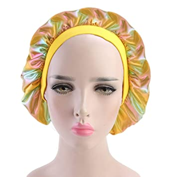 Holographic Hair Bonnet for Sleeping Elastic Band Laser Shower Cap Sleep Hat