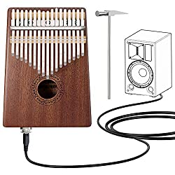 Kalimba 17 Key Thumb Piano, Mbira Mahogany Finger Piano with Pickup, Portable Musical Instrument Gifts for Kids and Adults Beginners by FINETHER